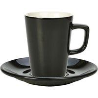 Royal Genware Black Latte Mug and Black Saucer 12oz / 340ml (Pack of 6)