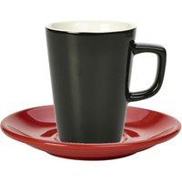 Royal Genware Black Latte Mug and Red Saucer 12oz / 340ml (Set of 6)
