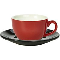 Royal Genware Red Bowl Shaped Cup and Black Saucer 8.8oz / 250ml (Set of 6)