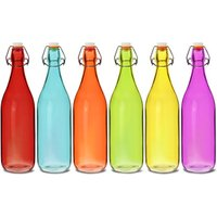 Coloured Glass Swing Top Bottles 1ltr (Case of 12)