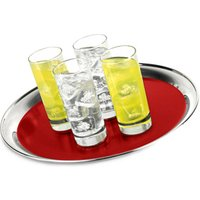 Stainless Steel Round Bar Tray with Red PVC 14inch - Drinkstuff Gifts