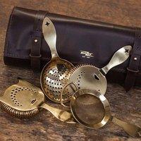 Bonzer Heritage Barware Leather Roll Bag Gold