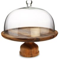 Genware Acacia Wood Cake Stand and Glass Cake Dome - Wood Gifts