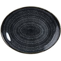 Studio Prints Homespun Orbit Oval Coupe Plate Charcoal Black 12.5inch / 31.7cm (Case of 12)