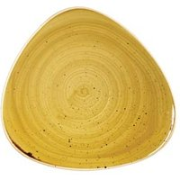 Churchill Stonecast Mustard Seed Yellow Triangular Plate 7.5 Inch / 19.2cm (Case of 12)
