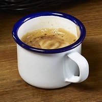 Blue Rim Enamel Espresso Mug White 5.5oz / 155ml (Case of 12)