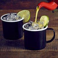 Enamel Mug Black with White Rim 12.5oz / 360ml (Case of 12) - Mugs Gifts