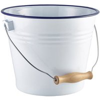 Click to view product details and reviews for Enamel Bucket White With Blue Rim 22cm Single.