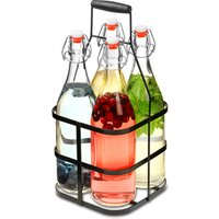Glass Clip Top Bottles with Metal Caddy 1ltr (4 Clip Top Bottles in a Crate)