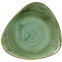 "Churchill Stonecast Samphire Green Triangular Plate 10"" / 26.5cm (Set of 12)"