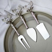 Stag Head Cheese Knives (Set of 3)