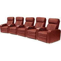 Premiere Home Cinema Seating - 5 Seater Burgundy - Cinema Gifts