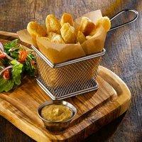 Mini Chrome Fryer Serving Basket 10 x 8 x 7.5cm (Pack of 6) - Chrome Gifts