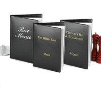Custom Douglas Menu Cover A4 Black (Set of 12) - Custom Gifts