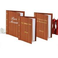 Custom Wood Effect Menu Cover A4 Cherry Wood (Set of 12) - Custom Gifts