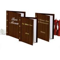 Custom Wood Effect Menu Cover A4 Dark Oak (Set of 12) - Custom Gifts