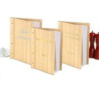 Custom Wood Effect Menu Cover A4 Natural (Set of 12) - Custom Gifts