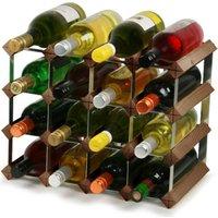 Traditional Wooden Wine Racks - Dark Oak (3x4 Hole [16 Bottles]) - Wooden Gifts