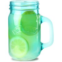 Kilner Handled Drinking Jar Blue 14oz / 400ml (Set of 4)