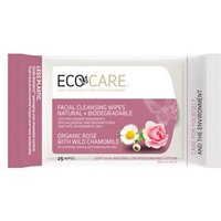 Ecocare Facial Cleansing Wipes - Organic Rose with Chamomile 25 Wipes