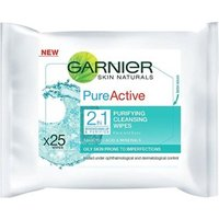 Garnier Pure Active 2in1 Purifying Cleansing Wipes 25 Wipes