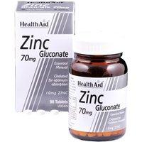 HealthAid Zinc Gluconate 70mg (10mg elemental Zinc) 90 tablets