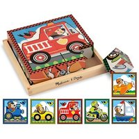 Melissa & Doug Vehicles Wooden Cube Puzzle