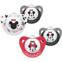NUK Mickey & Minnie Silicone Soother Size 1 (0-6m) Black / Clear
