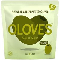 Oloves Basil & Garlic Natural Green Pitted Olives 30g