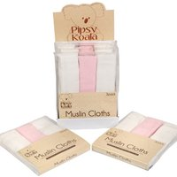 Pipsy Koala Muslin Cloths 3 Pack - White Pink