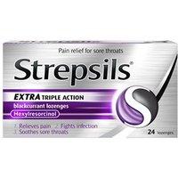 Strepsils Extra Triple Action Blackcurrant Lozenges 24 lozenges