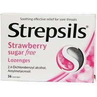 Strepsils Strawberry Sugar free Lozenges 36 logenzes