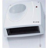 Glen 2kW Electric Wall Mounted Downflow Fan Heater With Pull Cord & Thermostat