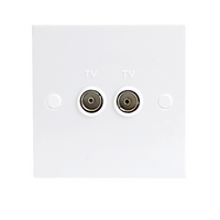 KnightsBridge White Twin Coaxial TV Outlet Un-Isolated Single Wall Plate