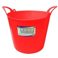 Rhino 26L Heavy Duty Flexi Flexible Garden Container Storage Bucket Tub - Red