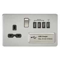 KnightsBridge 2G 13A Screwless Brushed Chrome 1G Switched Socket with Quad 5V USB Charger Ports - White Insert