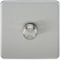 'Knightsbridge 10-200w 1g 2 Way Screwless Brushed Chrome 230v Electric Led Compatible Dimmer Switch