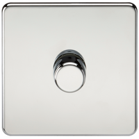 'Knightsbridge 10-200w 1g 2 Way 230v Screwless Polished Chrome Led Compatible Electric Dimmer Switch