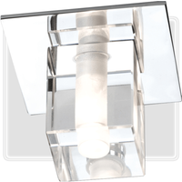 KnightsBridge Low Voltage IP65 Decorative Square Glass Bathroom Fitting and Lamp