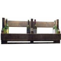 Zexum Handmade Rustic Solid Wood Reclaimed Wine And Glass Rack - 6 Glass