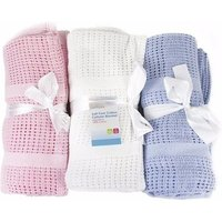 First Steps 100% Pure Soft Cotton Cellular Baby Blanket - Blue