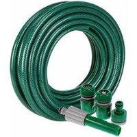 Zexum 30m Reinforced PVC Green Garden Hose Set with Adapters
