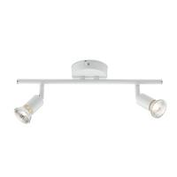 KnightsBridge Ceiling Light GU10 50 Watt 2 Spotlight Bar Whi