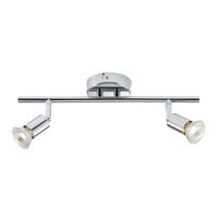 KnightsBridge Ceiling Light GU10 50 Watt 2 Spotlight Bar Chrome LED Compatible