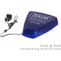 Zexum Blue DIY Dummy Alarm Box With LED Backlight, Sounder, & Strobe - 30M Cable