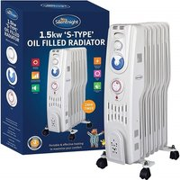 Silent Night 1.5kw 7 Fin S Type Oil Filled Radiator with Timer
