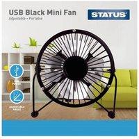 """Status 4"""" Mini USB Metal Fan -black"""