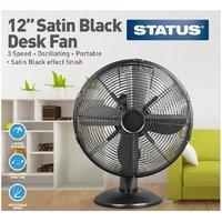 Status 12 Inch Oscillating Desk Fan - Satin Black