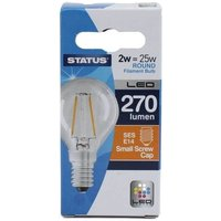 Status 2W Round LED Filament Bulbs-(BC,ES,SES) - SES