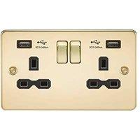 KnightsBridge 13A 2G Switched Socket with Dual USB Flat Plate - Polished Brass, Black Inserts